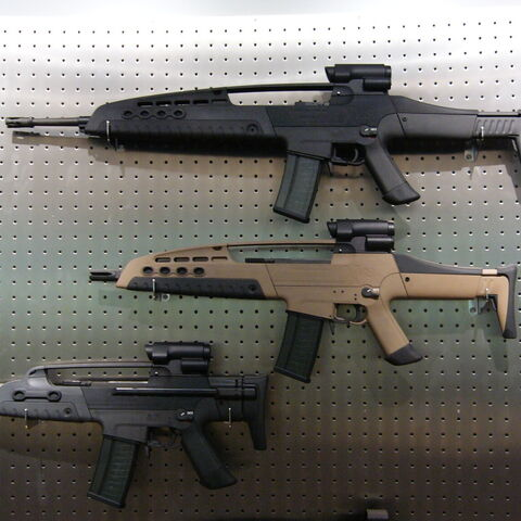 A rack of an XM8 LMG, an XM8, and an XM8C.