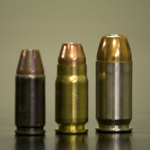 9mm, the cartridge furthest to the left, as compared to a <a href=