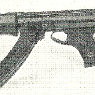 The BSA Machine Carbine Mk.III, the final version of the weapon. This example is the third model of the Mk.III and has a bayonet attached.