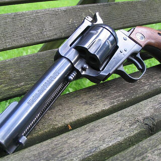 The Ruger Blackhawk, a Ruger made single action revolver based on the <i>Peacemaker</i>