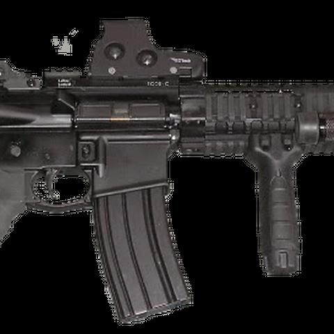 An AR-15, an assault rifle chambered in <a href=