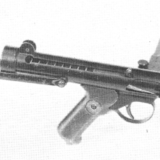 Patchett Machine Carbine Mk.I, No.62. Note that this model has a protruding barrel and relocated cocking handle.