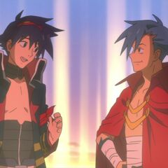 Simon as an adult, standing with Kamina after breaking free of the Anti-Spirals' trap