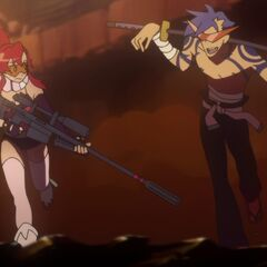 Kamina helping Yoko defeat the first Gunman