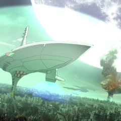 Arc-Gurren above Kamina City