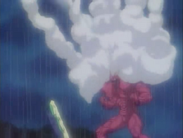 Gaster firing all of his Liquid Missiles at Guyver III