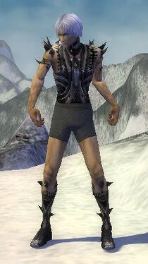 Necromancer Obsidian Armor M gray arms legs front