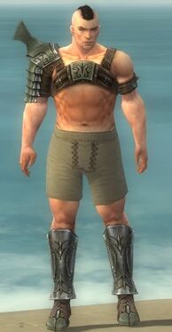 Warrior Elite Gladiator Armor M gray chest feet front