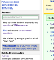 Wikianswers widget on guildwiki
