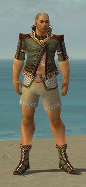 Monk Elite Kurzick Armor M gray chest feet front