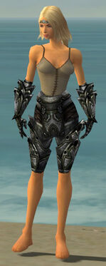 Warrior Obsidian Armor F gray arms legs front