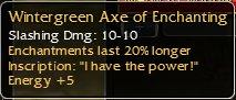 Modded wintergreen axe