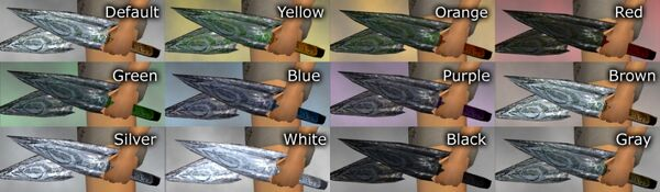 Arrowblade Daggers dye chart
