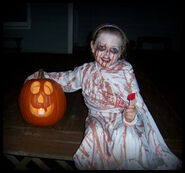 Little girl in a Bloody Mary costume