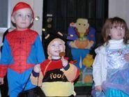 Spider-Man, Pooh the Bee and a princess, circa 2003