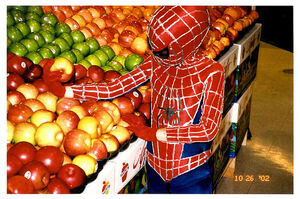 Spiderman in the produce section