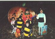 Blossom, Bubbles, a jack-o'-lantern and two bumblebees, circa 2001