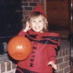 Tracy, as a crayon, Halloween circa 1984