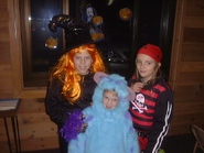 A witch, a pirate, and Sulley from Monsters, Inc., circa 2003