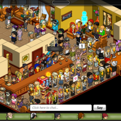 A screenshot of a protest in the Welcome Lounge.