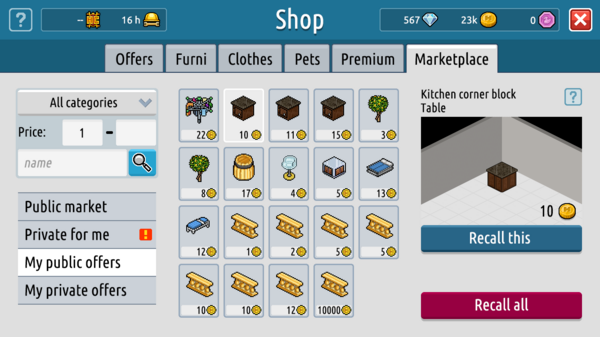 Newer Habbo Shop Market place