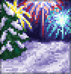 Background winter fireworks