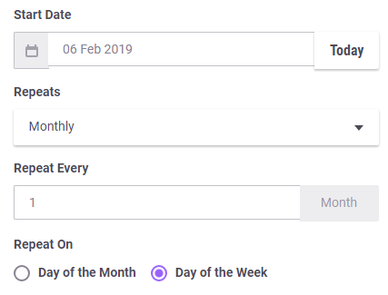 Dailies Repeatable Monthly by Weekday