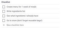 Checklist editing