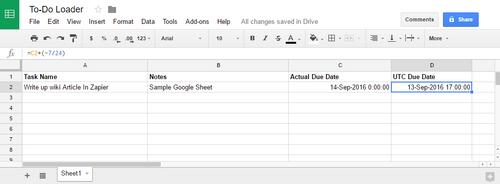 Zapier-GoogleLoadToDo GoogleSheet