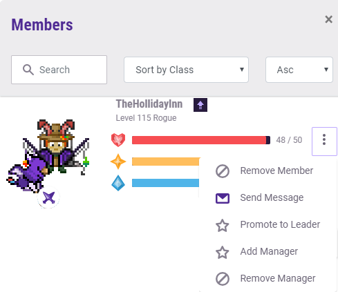Group Member Admin Menu