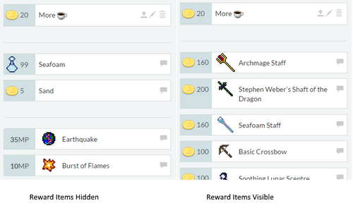Hide reward items screenshot