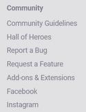 Community sticky menu