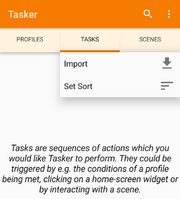 Tasker import screen