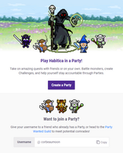 A page with a header depicting four people fighting a boss. Below the header, it suggests that the user play Habitica in a party. There are two options near the bottom for starting a party or joining someone else's party with brief text describing them and buttons to help one use the options.