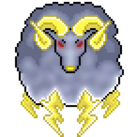 A grey ram with lightning bolts for legs