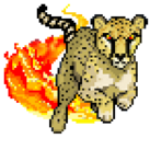 A cheetah running through flames