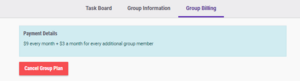 Group plan payment details