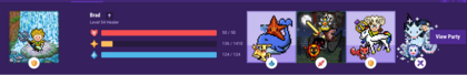 The header of Habitica. On the left, the user's avatar and stats are displayed. Following that, four party members' avatars are displayed on the right, followed by a button allowing the user to view their party.