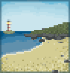 Background lighthouse shore