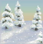 Background snowy pines