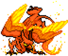 An angry, bright orange gryphon with a flaming tail.