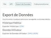 Options d'exports de données