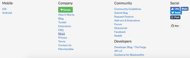 The footer is on a pale grey background and contains the following columns from left to right: a mobile column with links to the iOS and Android apps, a company column containing many of the links found on the static site header as well as donation, merchandise, and policy links, a community column containing links to the community guidelines, bug report page, feature requests, API and extensions, and social media sites for Habitica, and a social column containing like and share buttons for a variety of social media platforms.
