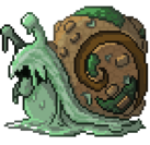 A snail covered with moss and sludge