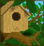 Background giant birdhouse