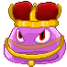 A blob of pink jelly, dressed in royal regalia