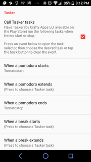 Clockwork tomato tasker settings