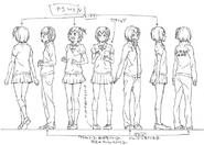 Hitoka Yachi's Official Full Body Concept Art Uncolored