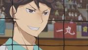 Oikawa sonriendo
