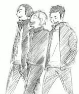 Daichi, Asahi, and Suga Walking Together
